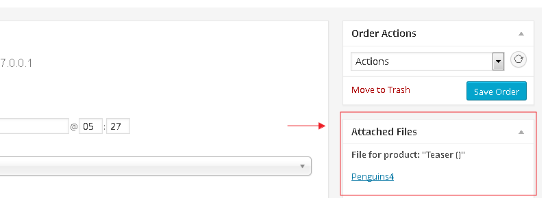 WooCommerce order placed with attachments